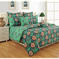 Swayam Green And Sea Green Colour Floral Print Cotton Bed Sheet With Pillow Covers