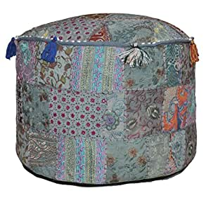Buy Indian Pouf Stool Vintage Patchwork Embellished With