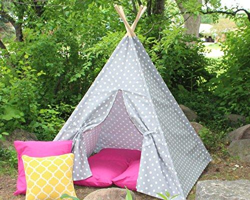 Gray Polka Dot Kids Teepee Play Tent, Play Tee Pee, Heavy Fabric, Playhouse