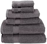 Superior Collection 6-Piece Zero Twist Cotton Super Soft and Absorbent Towel Set, Grey