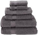 Superior Collection 6-Piece Zero Twist Cotton Super Soft and Absorbent Towel Set, Grey