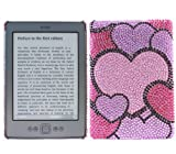 ITALKonline PREMIUM FunkGem PINK BLACK HEARTS MEDLEY Diamonte Crystals Protective Armour/Case/Skin/Cover/Shell with Screen Protector and MicroFibre Cleaning Cloth for Amazon Kindle 4 6