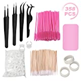 Eyelash Extension Kit, including Stainless Steel Precision Tweezers Set, Disposable Eyelash Mascara Brush Wand, Cotton Swabs