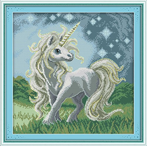 YEESAM ART® New Cross Stitch Kits Advanced Patterns for Beginners Kids Adults - Beautiful Unicorn 11 CT Stamped 43x44 cm - DIY Needlework Wedding Christmas Gifts (Counted Cross Stitch Software compare prices)