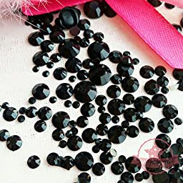 200 pcs 2mm -10mm Jet Black resin faux round Pearls Flatback Mix Size Cabochon *ship with FREE GIFT from GreatDeal68*