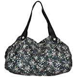 Large Floral Sequin Slouch Fashion Shoulder Bag Black
