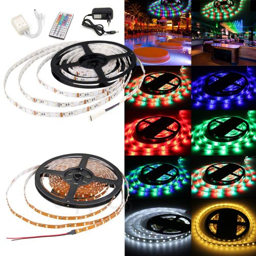 Happy Hours® Non-Waterproof 30 Led/M Rgb Color Changing Smd 5050 High Density Led Light Strip Lamp Kit Ideal For Chrismas, Party, Indoor/ Outdoor Decoration + 44 Key Remote Controller + 12 Volt Power Supply Pack Of 5 Meters