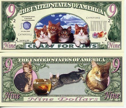 Set of 10 - Crazy for Cats 9-lives Novelty Money Bill