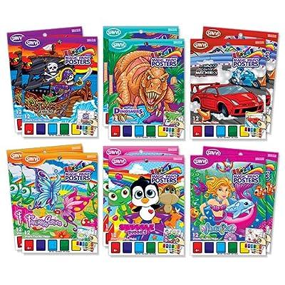 Savvi Assorted Magic Paint Poster Books (12-Pack)