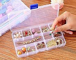 Pindia Transparent DIY transparent storage box jewelry box finishing box kit 15 cells