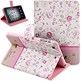 Case for iPad Mini 3,Cover for iPad Mini,Case for ipad Mini with Retina Display,Leather Case for iPad Mini,Flip Case for iPad Mini, Nsstar Butterfly Fairy and Flower Inlaid Shiny Glitter Diamond Pu Leather Flip Protective Case Cover with Stand for Apple Ipad Mini / Ipad Mini 2 / Ipad Mini with Retina Display/ iPad Mini 3 (2014 Release) (Mini Flower #1)