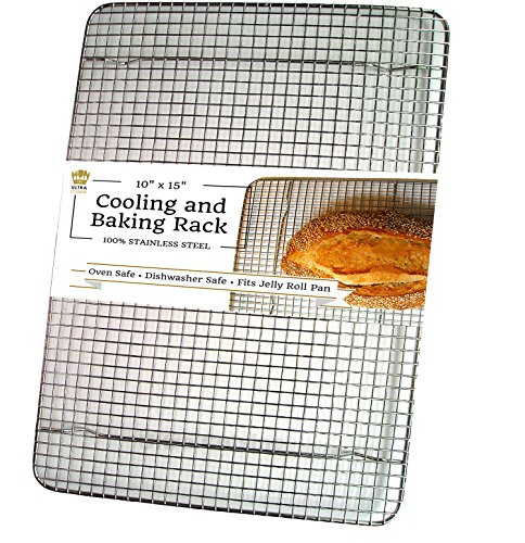 100% Stainless Steel Cooling Rack for Baking Pans: UltraCuisine 10×15 Oven Safe Heavy Duty Wire Rack