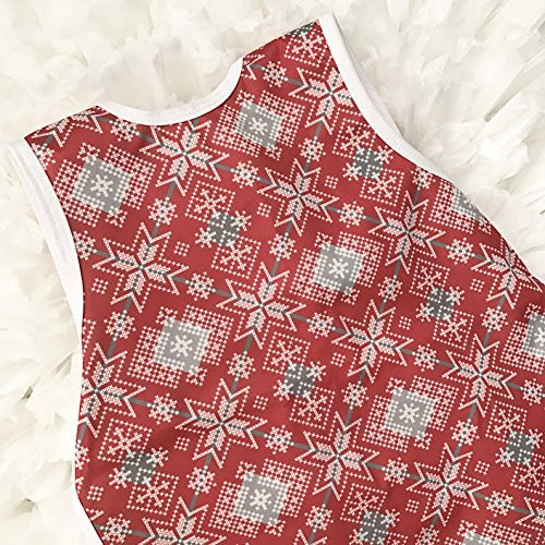 Christmas Sweater Baby Bib - Bapron by BapronBaby - Red Toddler Apron with Ties, size 6m-3t
