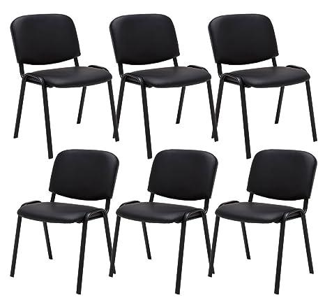 6th set sedia da attesa Ken Kunstleder nero