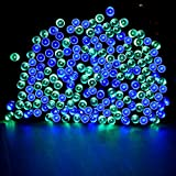 Solar Powered String Lights, Loende 72ft 200LED Blue-Green 8 Modes Waterproof Christmas Lights for Garden Patio Outdoor Party Wall Tree Deaoration