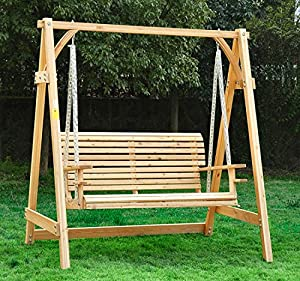 Outsunny 2 Seater Larch Wood Wooden Garden Swing Chair Seat Hammock Bench Lounger Fsc