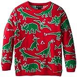 Alex Stevens Big Boys' Ugly Christmas Sweater Dinosaur Scatter, Red Combo, Medium