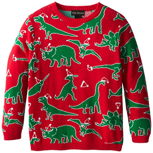 Alex Stevens Big Boys' Ugly Christmas Sweater Dinosaur Scatter, Red Combo, Large