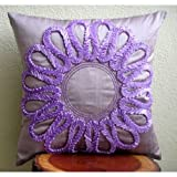 Purple Blossom - 16x16 inches Square Decorative Throw Purple Silk Pillow Covers with Satin Ribbon Embroidery