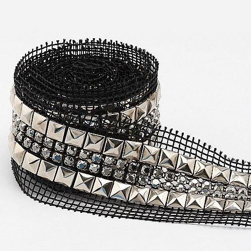 2yards Nickel Plated Stud Nailhead Rhinestones Rope Reel Chain-Black Net I0083-1