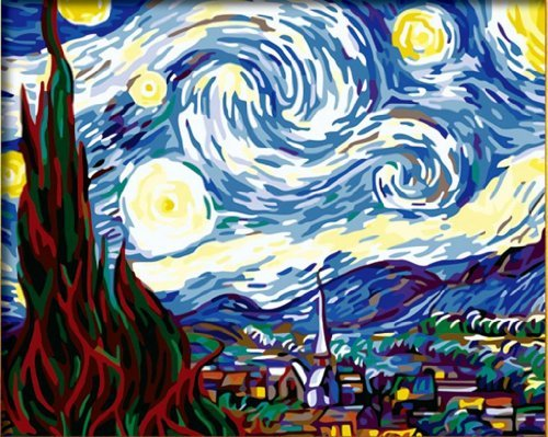 Holdfound Diy oil painting, paint by number kit worldwide famous oil painting The Starry Night by Van Gogh 16*20 inch.