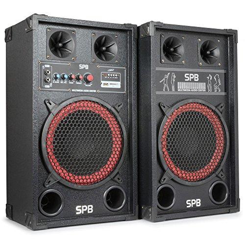 Skytec-Serie-SPB-10-MasterSlave-Boxensystem-Lautsprecher-mit-25cm-10-Zoll-Subwoofer-USBSD-2x-Mikro-Equalizer-400W-max