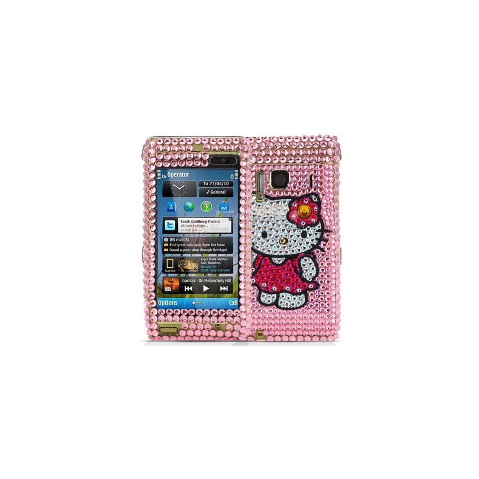 Ecell   PINK HELLO KITTY CRYSTAL BLING CASE COVER FOR NOKIA N8