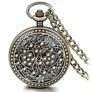 Acabado en bronce envejecido JewelryWe multitud de cables de 4 media Hunter Steampunk Mechanica con cadena de esqueleto relojes de bolsillo para colgar de bolsillo por JewelryWe