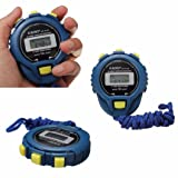 Oksale Sport LCD Chronograph Digital Timer Stopwatch Counter Odometer Alarm Watch (Blue) (Color: Blue)