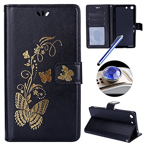 Etsue Sony Xperia M5 Cover,Sony Xperia M5 Custodia in Pelle,Donna Uomo Ultra Slim Fit Sottile Leather PU Portafoglio Case Cover,Wallet/Libro/Flip Semplice Personalizzato Style Elegante Bella Butterfly Oro Gold Puro in Pelle Cover Con Cinghia Creativo Magnetica chiusura Per Sony Xperia M5+Blu Stylus Pen e scintillio di Bling Diamond Dust Plug colora casuale-&Black&