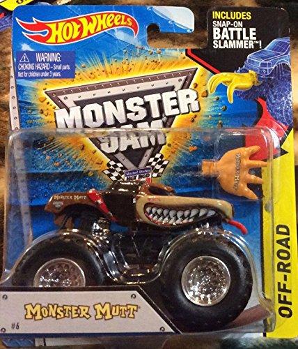 Monster Mutt #6 (Red Collar) 2015 Hot Wheels Monster Jam 1:64 Scale Off Road Truck with Snap-On Battle Slammer - 1