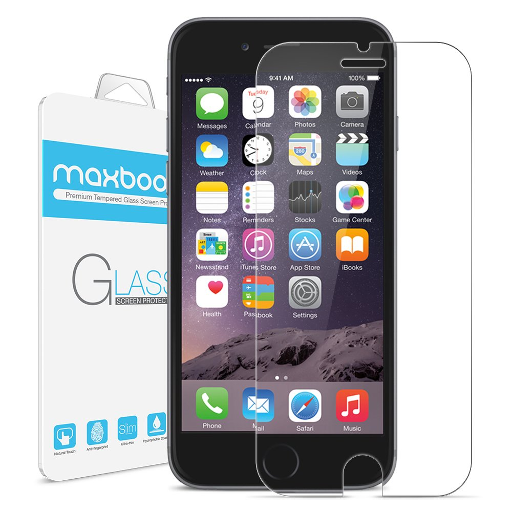 iPhone 6 Plus Screen Protector, Maxboost (Tempered Glass) 0.2mm Ballistic Glass Screen Protector Work with iPhone 6 Plus and Protective Case (Lifetime Warranty) - Ultra Clear Glass