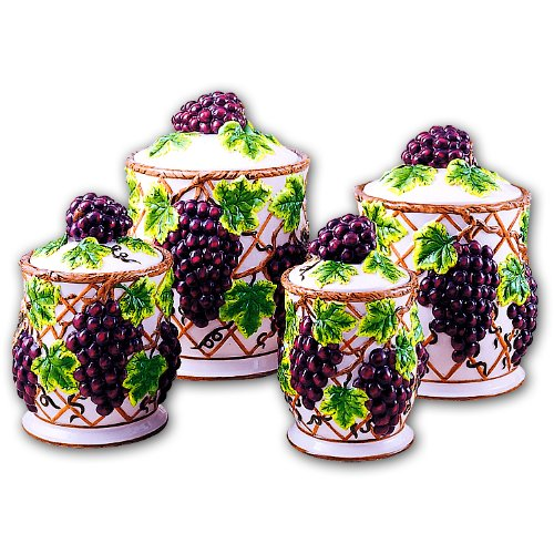 grapes kitchen canisters set ceramic fruit theme home