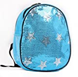 Dance Bag- Solid Sequin Front with Stars Backpack Aqua