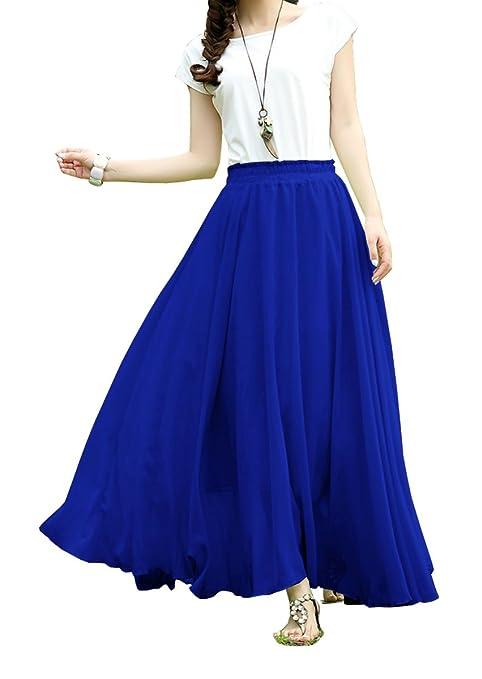 V28®Women Full/ankle Length Elastic Pleated Retro Maxi Chiffon Long Skirt (M, Blue)