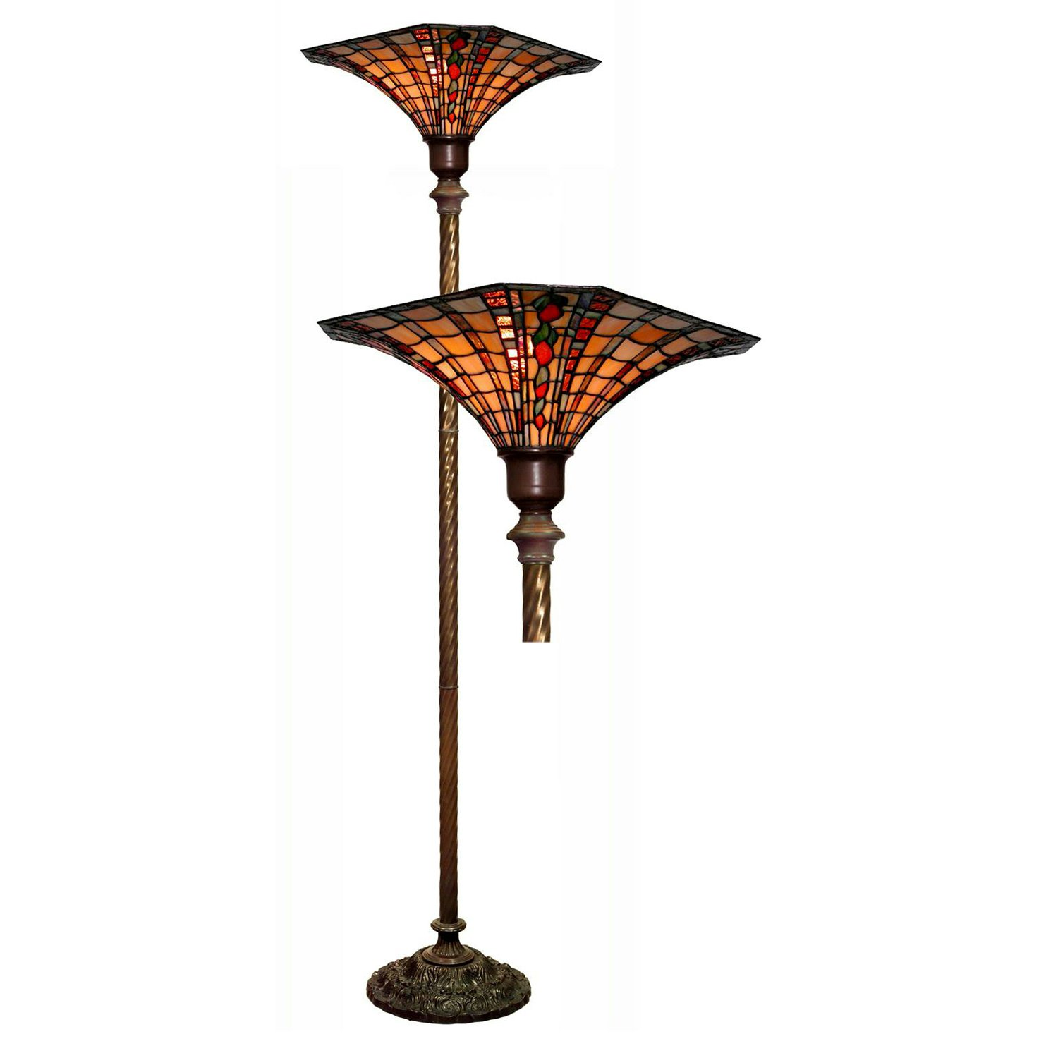 Warehouse of Tiffany 113+BB75B Large Tiffany-style Golden Amber Torchiere, Red