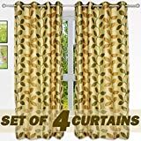 "Story@Home Nature Designer Eyelet 4 Piece Polyster Window Curtain Set - 46"" x 60"" (5ft), Green Leaf"