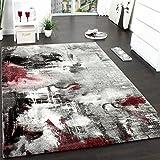 Teppich Modern Designer Teppich Leinwand Optik Meliert Schattiert Grau Rot Creme, Grösse:80x150 cm
