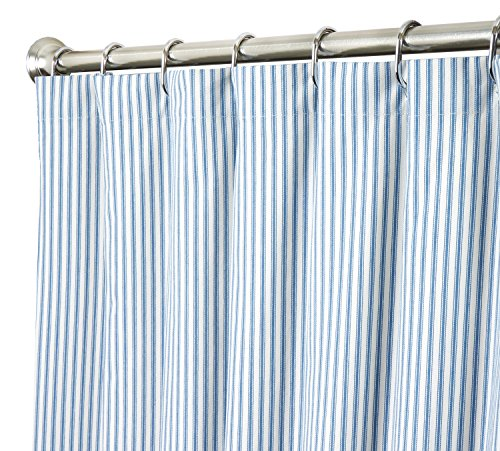 extra long shower curtain unique designer fabric blue striped ticking 96 inches curtain store. Black Bedroom Furniture Sets. Home Design Ideas