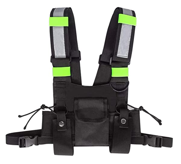 Universal Radio Chest Harness, Hands Free Chest Front Pouch Bag Holster Vest Rig for Two Way Radio Walkie Talkies