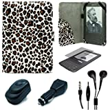 Leopard Pattern Design Protective Portfolio Nylon Carrying Case Cover for Amazon Kindle 3rd Generation Wireless Reading Device 3G Wi-Fi 6 inch LCD Display + Clear Screen Protector Guard for Kindle 3 Wifi + USB Travel Home Charger + USB Car Charger + Black Hifi Noise Reducing Handsfree Headphones / Earbuds with Mic