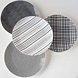 Glitterville Gray and White Plaid Haberdashery Dinner Plates - Set of 4