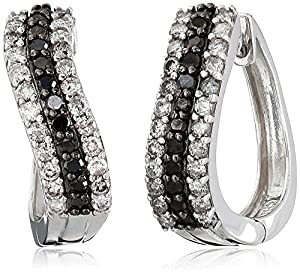 Sterling Silver Black and White Diamond Earrings (1 cttw)
