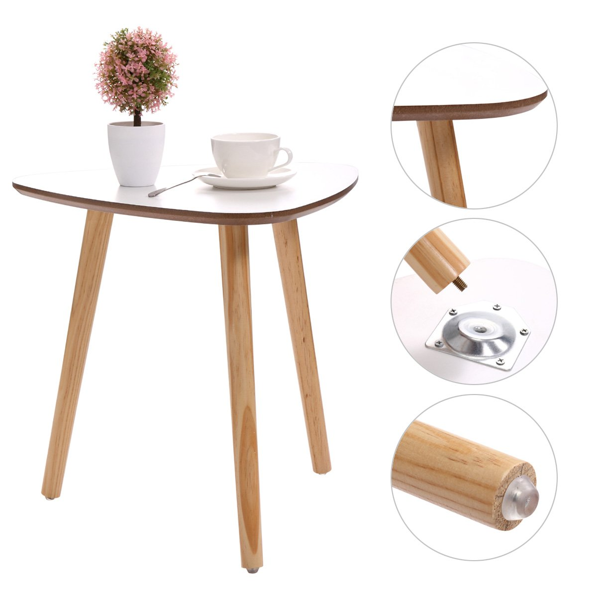 JAXPETY Three Legged Bamboo End Table • Modern Triangle Coffee Table • Real Bamboo Furniture • Environmentally Friendly Side Table for Magazines, Books & Plants