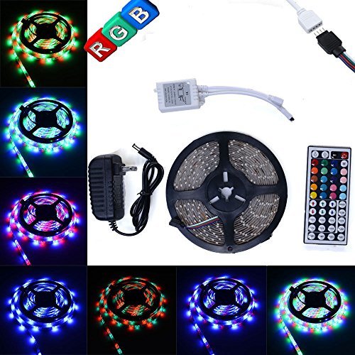 EconoLed(TM) 5M/16.4 Ft SMD 3528 RGB 300 LED Color Changing Kit with Flexible Strip Light+44 Key IR Remote Control+ Power Supply (Club Car 6 Volt Batteries compare prices)
