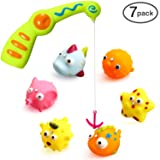 Ohuhu Children Kids Baby Fishing Bath Toy, Bath Water Toys A Magnetic Fishing Rod, 6 Sea Characters A Mesh Bag Storing Toys (Tamaño: 7-pack)