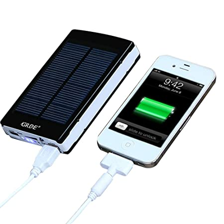 Universal 10000 mAh Portable Dual USB External Solar Power Bank /Backup Battery Charger; External Battery Packs for Headlamp