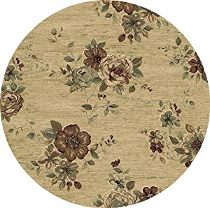 153983 5 39 3 round rug depot floral round area rug royal garden collection beige - Rugs and runners to match ...