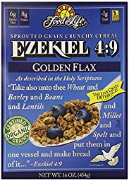 Food For Life Ezekiel 4:9 Organic Sprouted Grain Cereal, Golden Flax, 16-Ounce Boxes (Pack of 6)