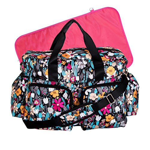 Trend Lab Turquoise Floral Deluxe Duffle Diaper Bag, Turquoise Floral